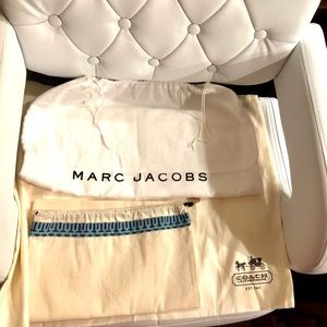 Coach, Tory Burch, and Marc Jacobs dust bags